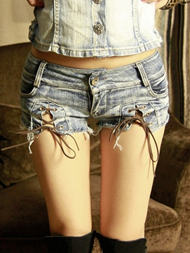 Ericdress Fashion Lace-Up Denim Shorts