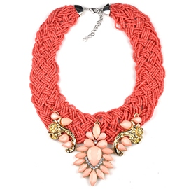 Ericdress Flower Gemstones Beading Necklace