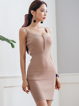 Ericdress Sexy Soild Color Spaghetti Strap Bodycon Dress