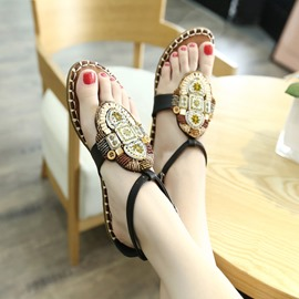 Ericdress Retro Bohemian Beaded Thong Flat Sandals