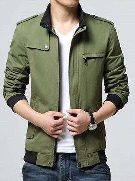 Ericdress Plain High Collar Zip Slim Men's Jacket