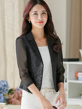 Ericdress Solid Color Mesh Patchwork Blazer