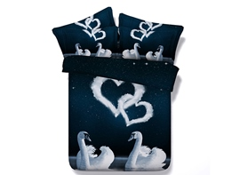 Ericdress White Love Swan Print 3D Bedding Sets