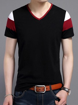 Ericdress Color Block V-Neck Slim Men 's T-Shirt