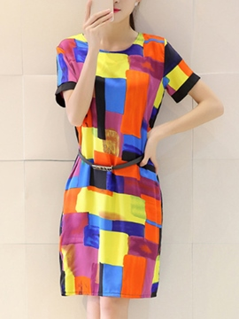 Ericdress Color Block Korean Style Casual Dress