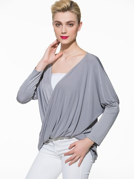 Ericdress Loose Pleated V-Neck T-Shirt