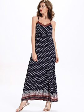 Ericdress Spaghetti Strap Print Open Back Maxi Dress