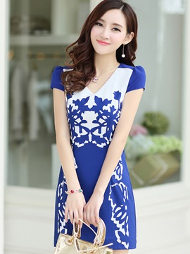 Ericdress Print V-Neck Short Sleeve Bodycon Dress