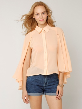 Ericdress Loose Solid Color Single-Breasted Blouse