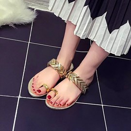 Ericdress Metal Decorated Toe Ring Flat Sandals