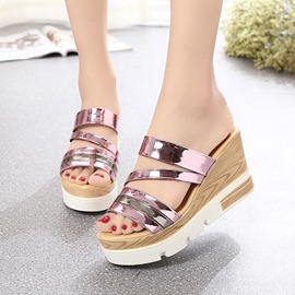 Ericdress PU Contrast Color Wedge Mules Shoes