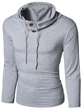 Ericdress Plain Heap Collar Casual Men's Hoodie