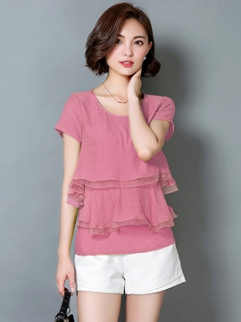 Ericdress Solid Color Mesh Patchwork Blouse