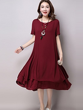 Ericdress Mori Girl Soild Color Casual Dress