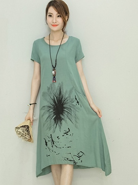 Ericdress Print A-Line Short Sleeve Round Neck Casual Dress