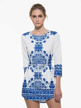 Ericdress Blue and White Porcelain Casual Dress
