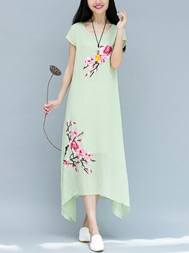 Ericdress Ethic Short Sleeve Maxi Dress