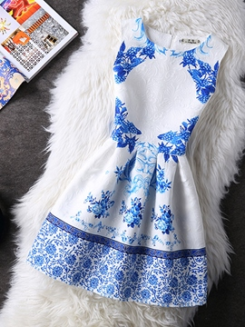 Ericdress Sleeveness Vintage Print Casual Dress