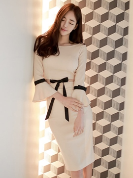 Ericdress Ladylike Flare Sleeve Sheath Dress