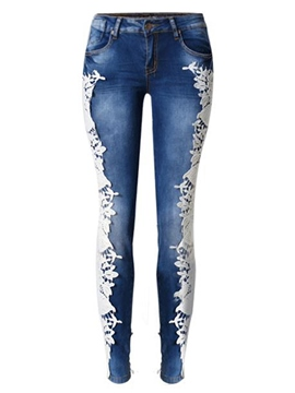 Ericdress Fashion Lace Patchwork Jeans