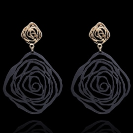 Ericdress Exaggerated Rose Pendant Earrings