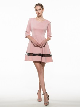 Ericdress Soild Color Half Sleeve Casual Dress