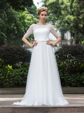 Ericdress Simple Beaded A Line Wedding Dress With Sleeves