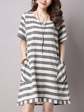 Ericdress Loose Stripe Casual Dress