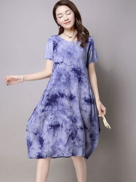 Ericdress Short Sleeve V-Neck Casual Dress