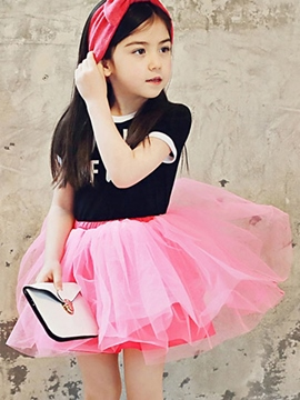 Ericdress Patchwork Short Sleeve Girls Dress