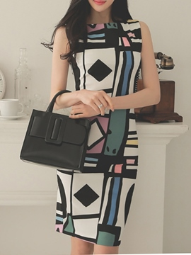 Ericdress Geometric Print Bodycon Dress