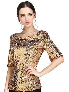 Ericdress Slim Sequins T-Shirt