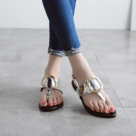 Ericdress Metal Decorated Thong Flat Sandals