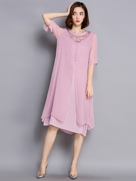 Ericdress Summer Silk Soild Color Casual Dress