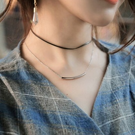 Ericdress Double Layers Metal Tube Necklace