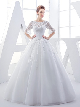 Ericdress Beautiful Ball Gown Lace Wedding Dress With Sleeves