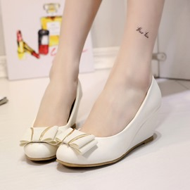 Ericdress Lovely Round Toe Bowtie Wedges