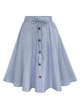 Ericdress Stripe Lace-Up Buttons Usual Skirt