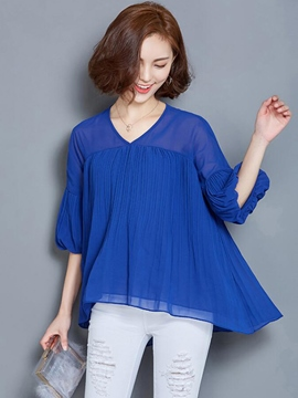 Ericdress Casual Solid Color Pleated Blouse