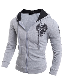 Ericdress Zip Print Slim Men's Hoodie