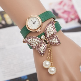Ericdress Vintage Diamante Butterfly Ladies Watch