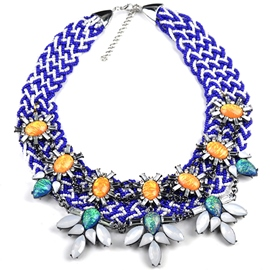 Ericdress Blue Beading Gemstones Necklace