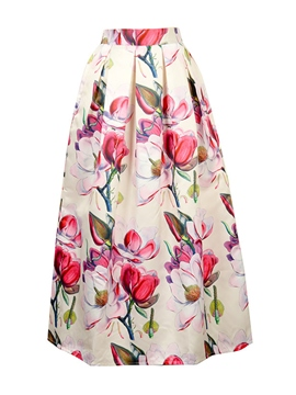 Ericdress Flower Print Usual Skirt