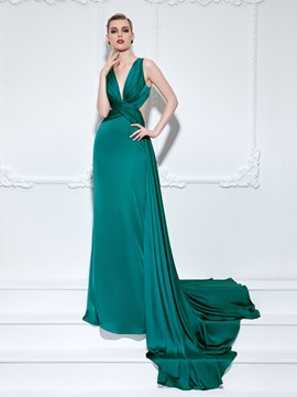 Ericdress A-Line V-Neck Pleats Court Train Evening Dress
