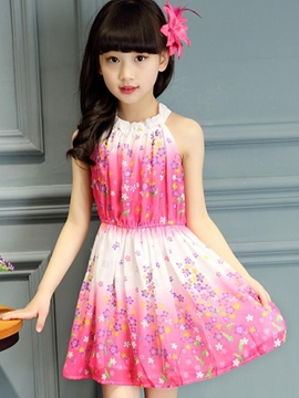 Ericdress Floral Print Pleated Sleeveless Girls Dress