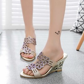 Ericdress Chic Rhinestone Wedge Mules Shoes