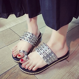 Ericdress Rivets Toe Ring Mules Shoes