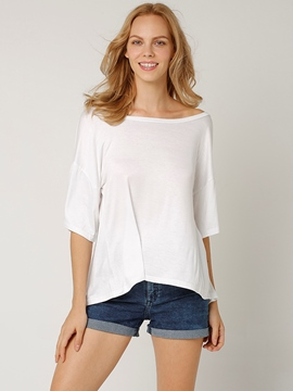 Ericdress Loose Solid Color Backless T-Shirt