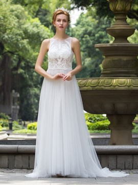 Ericdress Charming Illusion Neckline Beaded A Line Wedding Dress