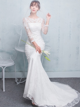 Ericdress Charming Long Sleeves Mermaid Lace Wedding Dress
